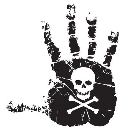 Handafdruk met een symbool van de dood schedel en gekruiste beenderen. Vector illustratie.