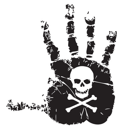 Handprint with a symbol of death skull and crossbones. Vector illustration.