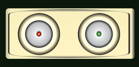 led: Button with a red and green LED. Vector illustration.