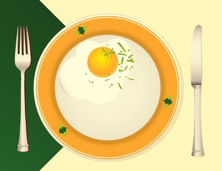 Scrambled eggs from one egg for breakfast. Vector illustration.