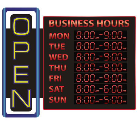 Digital time display of business with an inscription open. Vector illustration.