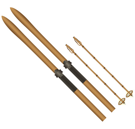 Old cross-country skis with bamboo sticks. Vector illustration.