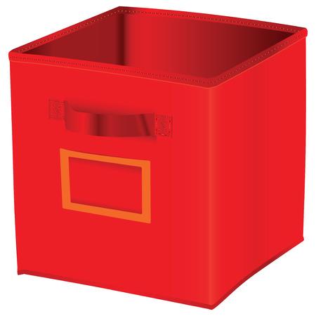 red cube: Stoccaggio cubo rosso con spazio per un'etichetta. Illustrazione vettoriale.
