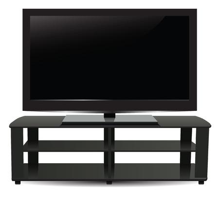 hdtv: Stand with modern plasma TV. Vector illustration. Illustration