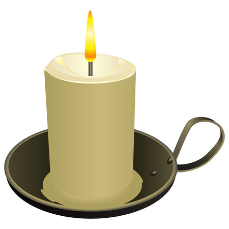steadily: Candle in the old candlestick cheap. Vector illustration.