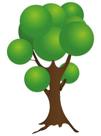 deciduous tree: �rbol de hoja caduca de la historieta con una corona esf�rica. Ilustraci�n del vector.