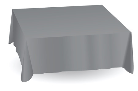 nonexistent: Tablecloth reproduces the contours of a non-existent table. Vector illustration.