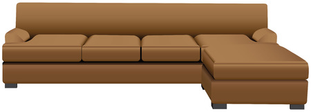 Sectional sofa with attached leather ottoman. Vector illustration.
