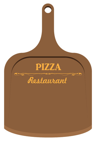 Board for pizza in the restaurant. Vector illustration. Vector