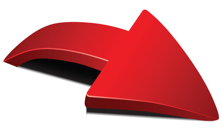Red curved arrow with shadow volume. Vector illustration. Çizim