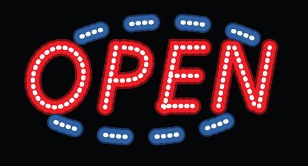 Glowing open neon display sign in a window. Vector illustration.