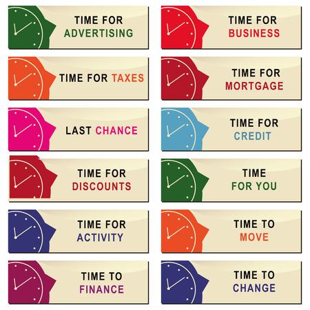Set of labels for business hours. Vector illustration.