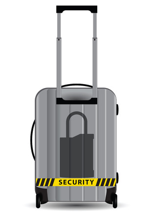 ensures: Lock symbol ensures safety during travel. Vector illustration.