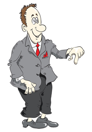 manager: Funny cartoon manager in a suit. Vector illustration. Illustration