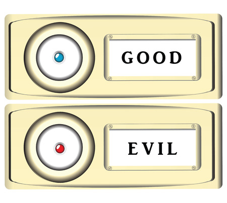 Stylized doorbell button of good and evil. Vector illustration. Illustration