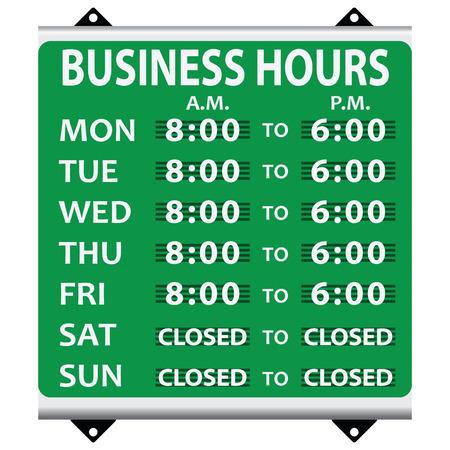 Infostand over de openingsuren tijdens de werkweek. Vector illustratie. Vector Illustratie