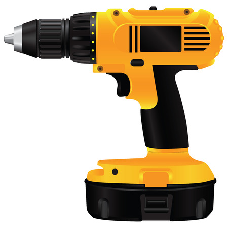 Hand electric drill with battery.