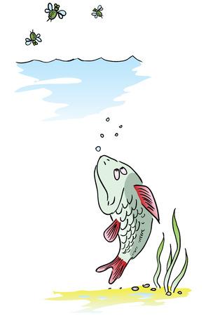 Vis aast op insecten uit het water. illustratie.