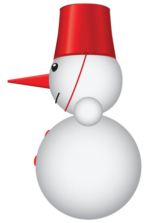 xm: Snowman with a red bucket. Cartoon illustration.