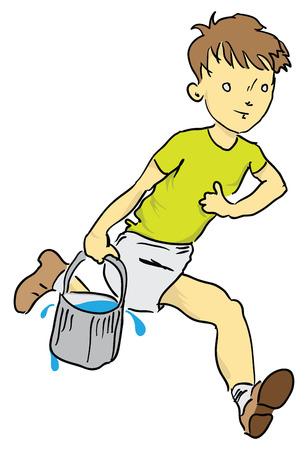 carries: Un ragazzo porta l'acqua in un secchio per i pesci. illustrazione.