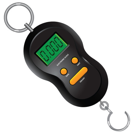 fishhook: Portable Digital Scale for travelers, fishermen and hunters. illustration. Illustration