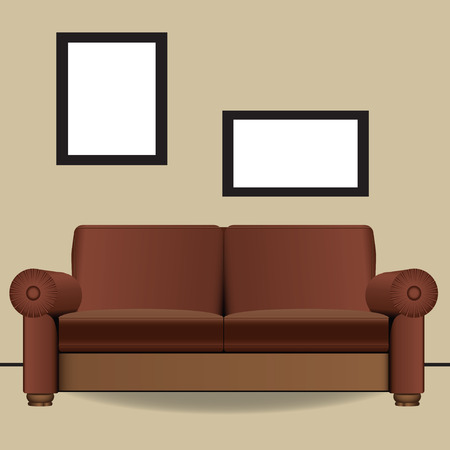 Sofa for two places in the interior. illustration. Illustration