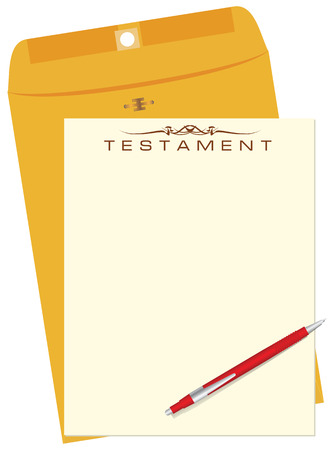 Testament with envelope and pen. illustration.