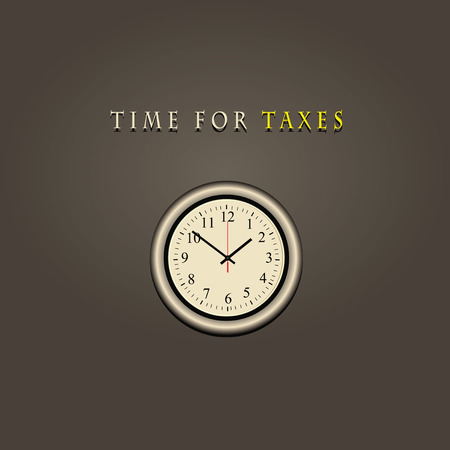 tax time: Wall clock with text time for taxes. illustration. Illustration