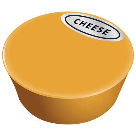 Large cheese head with a label.  Vector