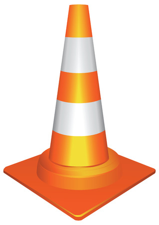 Plastic orange traffic cone to draw attention to the accident.  Illustration