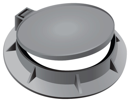 descending: Ajar manhole with a hinged lid.