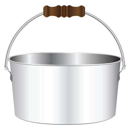 Flat pot for the bonfire with a wooden handle.  Vector
