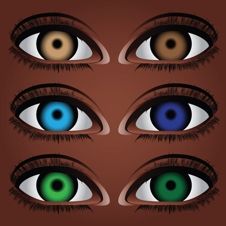 Variants of the human eye to different colors of the pupil.  Vector