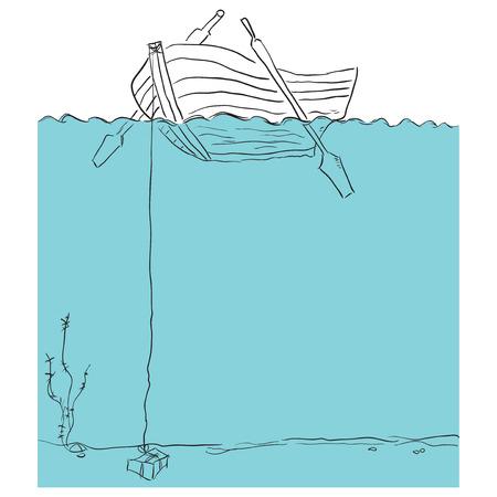 rowboat: Vista del bote de remos de debajo del agua.