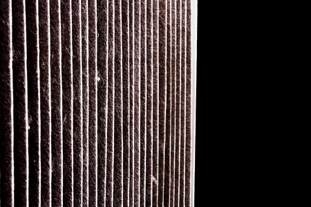 A dirty air filter car. Repair shop. photo