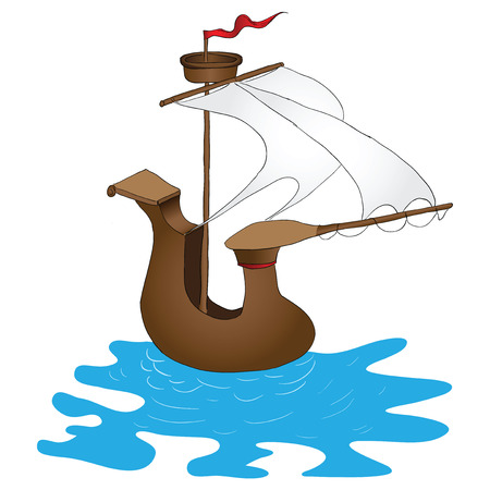 Stylized vintage sailing ship.  Vector
