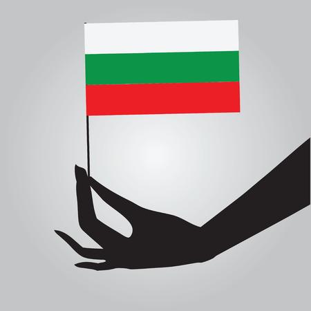 彼の手でブルガリアの国旗。