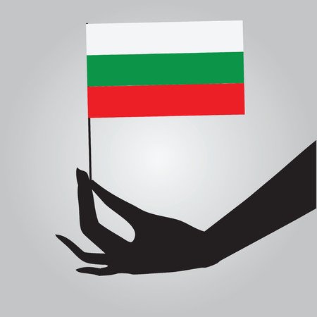 Bulgaria flag in his hand. 向量圖像