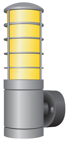 Industrial wall lamp in a sealed enclosure.  Vector