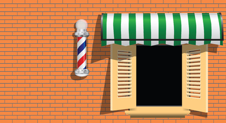 Ancient symbol of a barber shop on a brick wall..  Stock Vector - 26407608