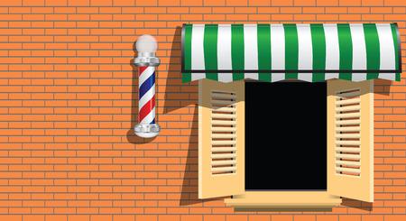 Ancient symbol of a barber shop on a brick wall..