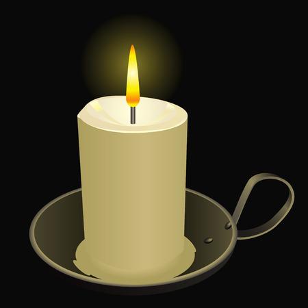 Burning candle in an old bowl. Vector illustration. Illustration
