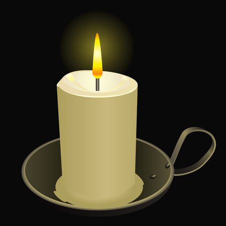 candlestick: Burning candle in an old bowl. Vector illustration. Illustration