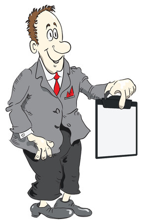 Manager displays information on a clipboard. Vector illustration. Vettoriali