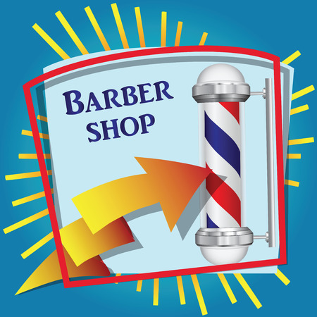 Cool sticker for barbershop with symbolic red blue cylinder. Vector illustration.