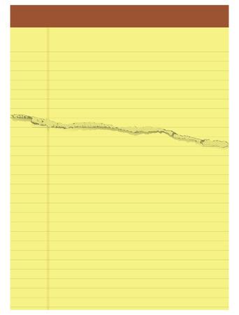 Block yellow office paper torn. Vector illustration.