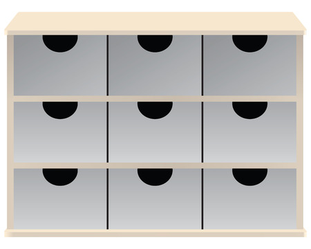 Drawer organizer for small parts drawers. Vector illustration.