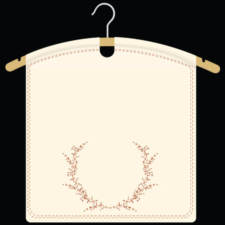 image size: Fabric with a vintage illustration on a hanger. Vector illustration. Illustration