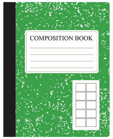 Traditional workbook for study and work in dense cover illustration.