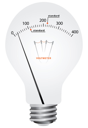 Creative filament lamp voltmeter with scale and the difference in the standards of the supply voltage illustration. Illustration